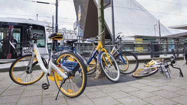 Obikes pal voor het station. Maar wie zijn eigen fiets op de plek neerzet kan erop rekenen dat deze wordt weggehaald. / VINCENT VAN DORDECHT