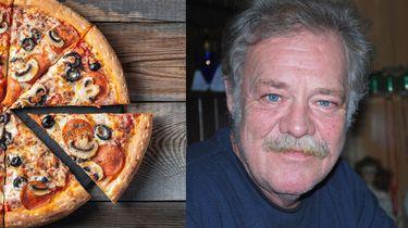 Een tweeluik foto met links een pizza en rechts Jean, die al jaren ongevraagd pizza's krijgt bezorgd.