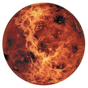 Een foto van de gloeiend hete planeet Venus