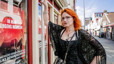 Een foto van sekswerker Moira Mona tijdens een eerder protest