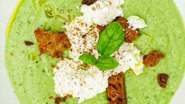 Op deze foto zie je groene gazpacho met avocado, komkommer, appel & ricotta