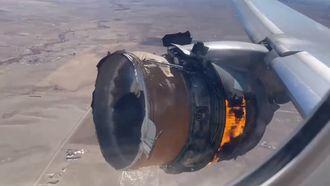 De motor van deze Boeing stond in brand