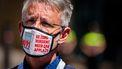 Een foto van een man met een mondkapje tegen het coronavirus