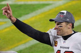 Foto van quarterback Tom Brady die zes keer de Super Bowl won