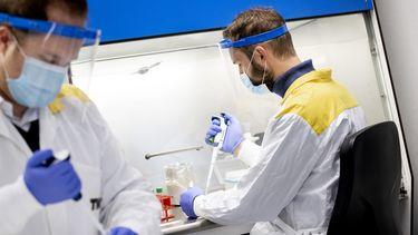 Op deze foto zijn twee labmedewerkers te zien die coronatesten uitvoeren; Slowakije wil 5,5 miljoen mensen testen