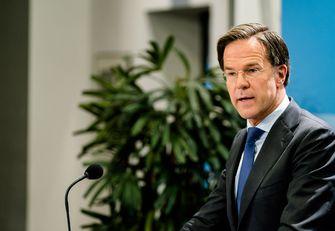 Een portret van premier Rutte, hij staat voor een plant en draagt een blauw stropdas.
