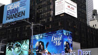 'Dodenklok' van Donald Trump op Times Square