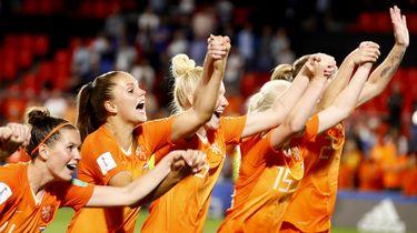 Foto van de voetbalvrouwen in extase