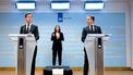 Een foto van de persconferentie van premier Rutte en minister De Jonge