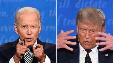 Op deze foto zijn Joe Biden en Donald Trump te zien tijdens het eerste verkiezingsdebat.