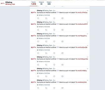 Enthousiasme op de Duitse Twitter-pagina van het sprookjespark