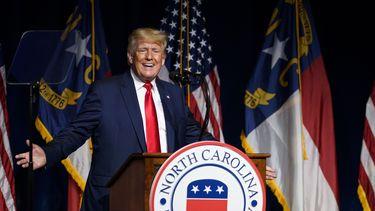 Donald Trump bij zijn toespraak in North Carolina.