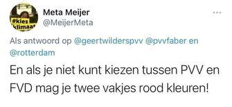 Op deze foto zie je de tweet van Meta Meijer