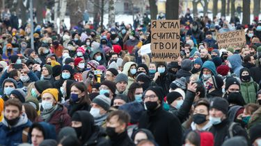 Duizend mensen opgepakt bij protesten in Rusland.