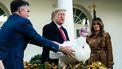 Een foto van Donald Trump met de kalkoen van 2019