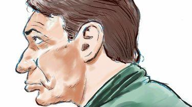 Een tekening van Willem Holleeder tijdens de rechtszaak