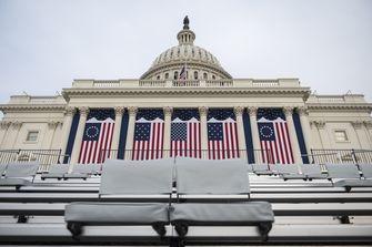 Een foto van het Capitool voor de inauguratie van Joe Biden