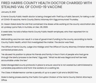 De arts wordt verdacht van het stelen van de vaccins en is ontslagen.