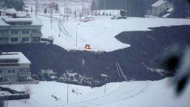 Een foto van de aardverschuiving in Noorwegen