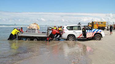 Een foto van de reddingsactie op Ameland