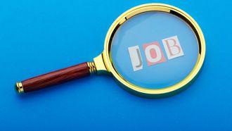 Een foto van een loep en 'job' ter illustratie van een sollicitatiegesprek