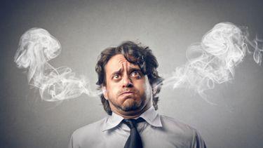 Een foto van een ondernemer waarbij het stoom uit de oren komt