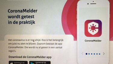 Een foto van de website van de CoronaMelder