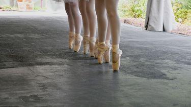 Foto van een ballerina zonder armen.