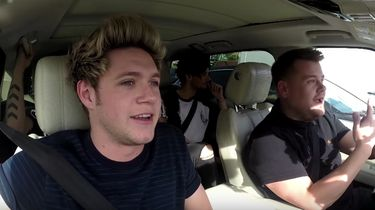 One Direction-lid Niall Horan tijdens de carpool karaokeshow van Engelse komiek James Corden. Foto: YouTube