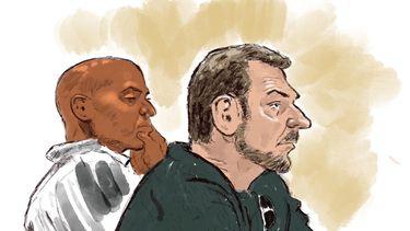 Rechtbankschets van Jos B. en zijn advocaat Gerald Roethof (L) tijdens de inhoudelijke behandeling van de rechtszaak tegen hem. B. wordt verdacht van het ontvoeren, misbruiken en doden van Nicky Verstappen.