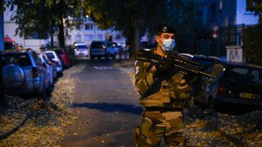 Op deze foto is een Franse soldaat met een geweer te zien.