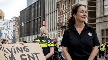 Femke Halsema bij het protest op de Dam