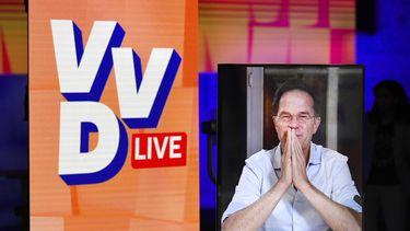 Een foto van premier Mark Rutte tijdens VVD-live.