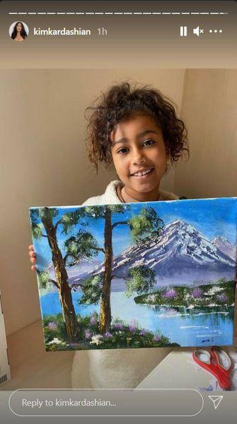 North West en haar schilderij in de Instagram-stories van moeder Kim