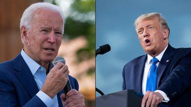 Op deze foto zijn Donald Trump en Joe Biden te zien.