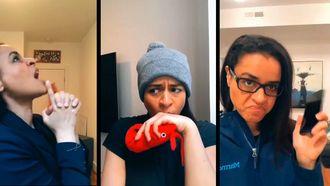 Een drieluik van momenten uit een Sarah Cooper video