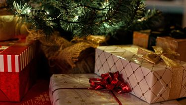 Een foto van cadeautjes onder de kerstboom.