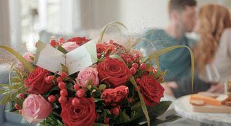 Een foto van bloemen op Valentijnsdag
