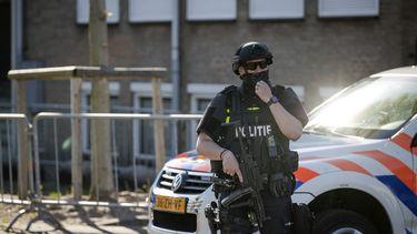 Beveiliging bij de extra beveiligde rechtbank.