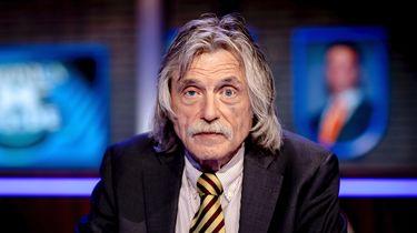 Johan Derksen, sportjournalist en voetbalanalist, in de studio van het tv-programma Veronica Inside