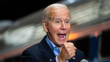 Een foto van Joe Biden met gebalde vuist