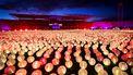 Een foto van lichtjes in het Olympisch Stadion, speciaal voor mensen die te maken hebben met kanker.