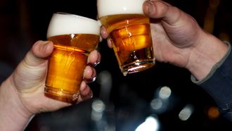 Twee mannen proosten met hun biertje. Foto: ANP / Roos Koole