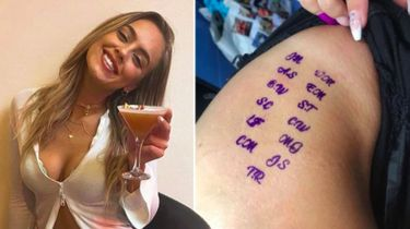 Links Megan Gerrard, rechts de tatoege van zeven mannen op haar dijbeen