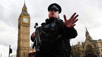 Auto rijdt voetgangers aan bij het Britse parlement