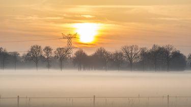 Een foto van een weiland in de mist