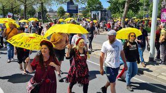 Demonstranten Walk of Freedom in Eindhoven