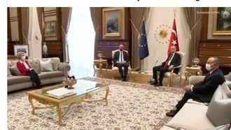 Erdogan, Michel en Von der Leyen tijdens 'sofagate'