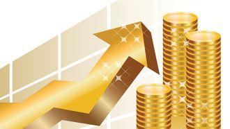 Een impressie van beleggen met geldstukken en een omhoog lopende pijl