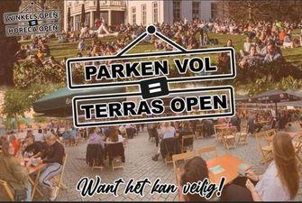 Parken vol is terras open